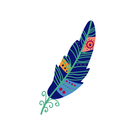 Colored Bright Bird Feather Painted in Blue Colors, Decoration Element Vector Illustration on White Background.
