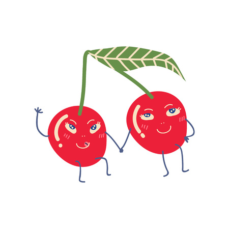 Cute Couple of Ripe Cherries Holding Hands, Adorable Funny Fruits Cartoon Characters Vector Illustration on White Background.