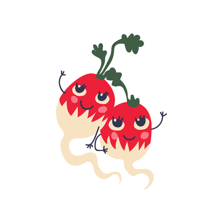 Cute Couple of Radishes with Funny Faces, Adorable Happy Vegetables Cartoon Characters Vector Illustration on White Background. 向量圖像