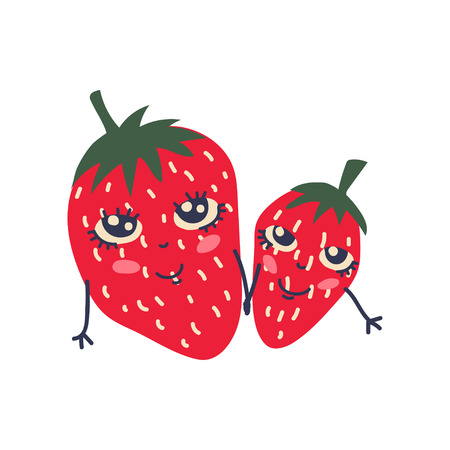 Cute Couple of Ripe Strawberries with Smiling Faces, Adorable Funny Fruits Cartoon Characters Vector Illustration on White Background.