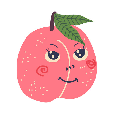 Cute Ripe Peach with Smiling Face, Sweet Adorable Funny Fruit Cartoon Character Vector Illustration on White Background.