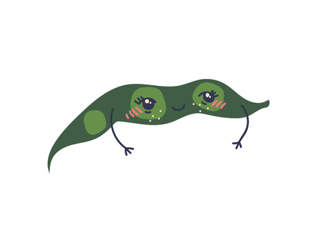 Cute Green Bean Pod with Funny Face, Adorable Vegetable Cartoon Character Vector Illustration on White Background.