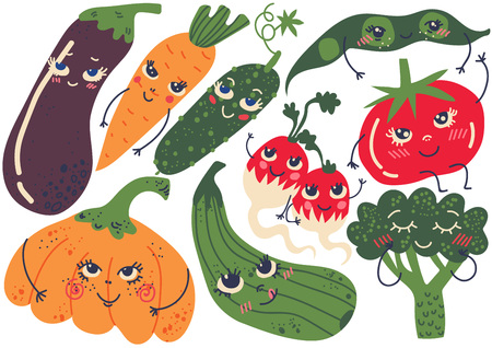Cute Funny Vegetables with Smiling Faces Set, Eggplant, Carrot, Pumpkin, Radish, Bean Pod, Cucumber, Tomato, Broccoli Cartoon Characters Vector Illustration on White Background. 일러스트