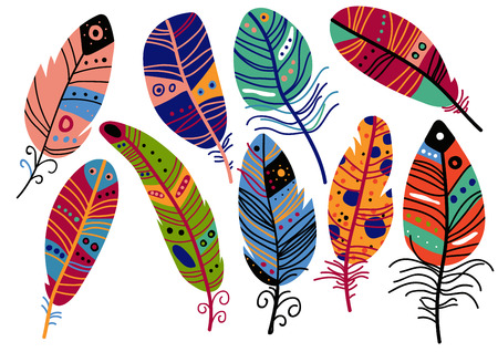 Beautiful Bright Bird Feathers Painted in Colorful Patterns, Decoration Elements Vector Illustration on White Background.