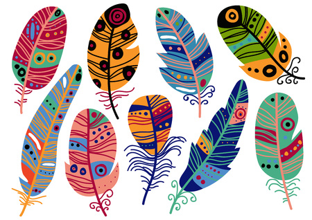 Collection of Colorful Bird Feathers with Patterns Set, Beautiful Decoration Elements Vector Illustration on White Background.
