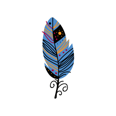 Bird Feather with Patterns in Blue Colors, Beautiful Decoration Element Vector Illustration on White Background. Ilustração