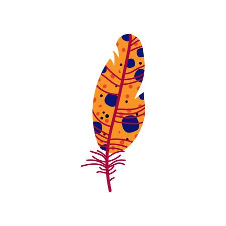 Beautiful Orange Bird Feather with Blue Dots, Decoration Element Vector Illustration on White Background.