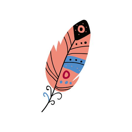 Colored Bright Bird Feather, Beautiful Decoration Element Vector Illustration on White Background. Illustration