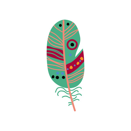 Colored Green Bird Feather Decoration Element Vector Illustration on White Background.
