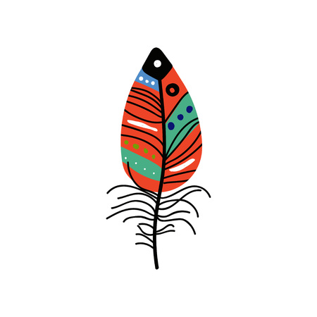 Bright Bird Feather with Colorful Patterns, Beautiful Decoration Element Vector Illustration on White Background. Ilustração