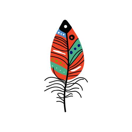 Bright Bird Feather with Colorful Patterns, Beautiful Decoration Element Vector Illustration on White Background. Illusztráció