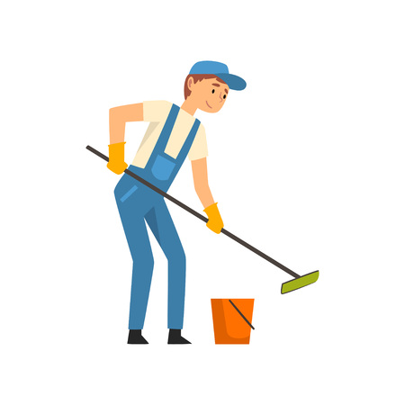 Cleaning Man with Bucket and Mop Washing Floor, Male Worker Character Dressed in Uniform and Rubber Gloves, Cleaning Service Vector Illustration on White Background.