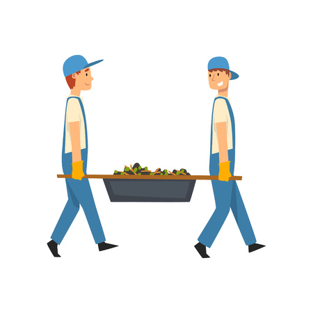 Two Cleaning Men Carrying a Rubbish Stretcher, Male Worker Character Dressed in Uniform and Rubber Gloves, Cleaning Service Vector Illustration on White Background.