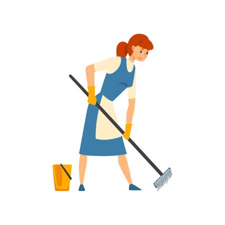 Femme de ménage épongeant le sol, personnage de femme de chambre en uniforme avec une robe bleue et un tablier blanc, illustration vectorielle de service de nettoyage sur fond blanc.