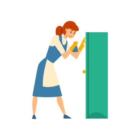 Putzfrau wischt Staub aus Kabinett mit Sprüher, Dienstmädchen-Charakter in Uniform mit blauem Kleid und weißer Schürze, Reinigungsservice-Vektor-Illustration auf weißem Hintergrund.