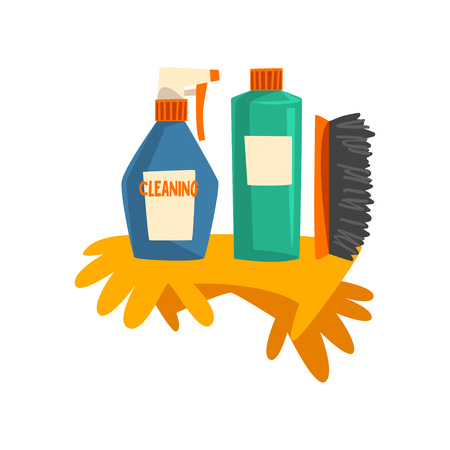 Household Cleaning Products, Bottles of Detergent and Rubber Gloves Vector Illustration on White Background. Illustration