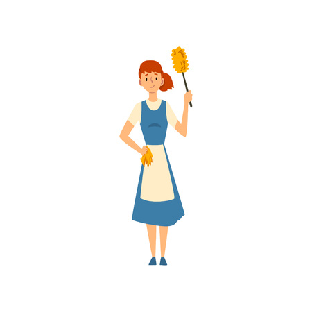 Cleaning Woman Standing with Duster and Rug , Maid Character Wearing Uniform with Blue Dress and White Apron, Cleaning Service Vector Illustration on White Background.