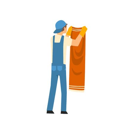 Cleaning Man Hanging Clean Wet Clothes, Male Worker Character Dressed in Uniform and Rubber Gloves, Cleaning Service Vector Illustration on White Background.