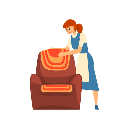 Woman Cleaning Furniture, Maid Character Wearing Uniform with Blue Dress and White Apron, Cleaning Service Vector Illustration on White Background. Illustration