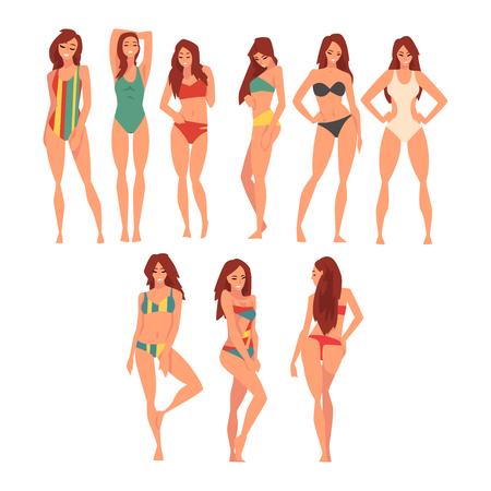 Piękna dziewczyna w zestaw różnych strojów kąpielowych, młoda kobieta ubrana w kolorowe kostiumy kąpielowe, lato moda wektor ilustracja na białym tle.