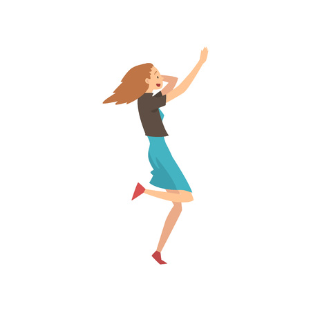 Happy Surprised Girl Wearing Casual Clothing Running Vector Illustration on White Background.