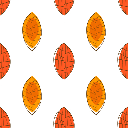Autumn Leaves Seamless Pattern, Orange Forest Leaf, Design Element Can Be Used for Fabric, Wallpaper, Packaging Vector Illustration, Natural Background.