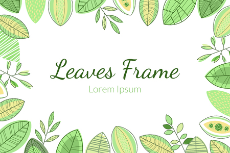 Leaves Frame, Foliage Decorative Elegant Card or Invitation Template with Place for Text Vector Illustration, Web Design Çizim
