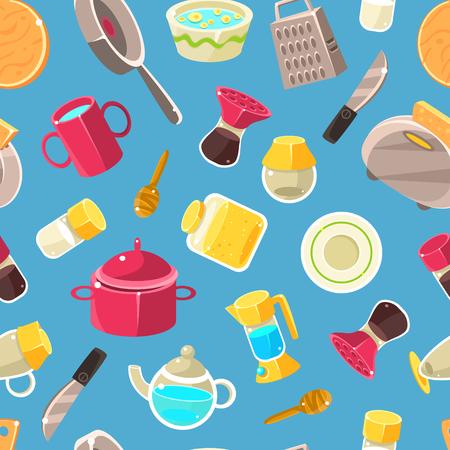 Kitchen Utensils Seamless Pattern, Design Element Can Be Used for Fabric, Wallpaper, Packaging Vector Illustration on Blue Background. Ilustração