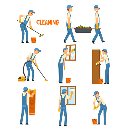 Men Cleaning and Washing Set, Male Workers Characters Dressed in Uniform and Rubber Gloves with Tools, Cleaning Service Vector Illustration Vecteurs