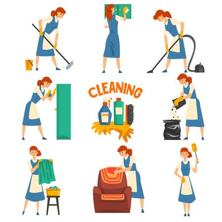 Conjunto de limpieza y lavado de mujer joven, personaje de señora de la limpieza con uniforme con vestido azul y delantal blanco, servicio de limpieza ilustración vectorial sobre fondo blanco.