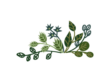 Green Plant Sprigs, Natural Design Element Can Be Used for Wedding Invitation, Save the Date, Greeting Card, Poster, Quote Vector Illustration