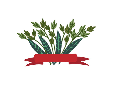 Green Twigs and Leaves with Red Ribbon, Natural Design Element Can Be Used for Wedding Invitation, Save the Date, Greeting Card, Poster, Quote Vector Illustration on White Background.