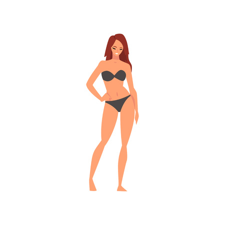 Beautiful Smiling Girl in Black Bikini, Young Woman Wearing Bathing Suit, Summer Fashion Vector Illustration on White Background.