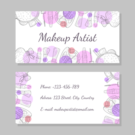 Makeup Artist Business Card, Visiting Card Template with Place for Your Text Vector Illustration 向量圖像