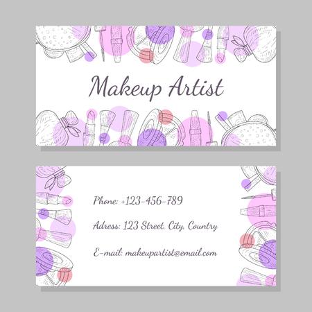 Tarjeta de visita de artista de maquillaje, plantilla de tarjeta de visita con lugar para la ilustración de vector de texto
