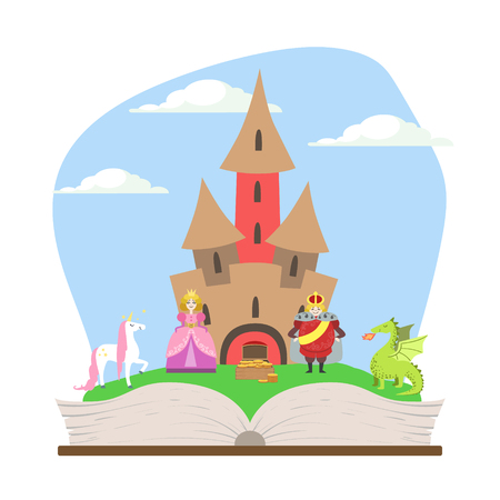 Opened Book with Magic Fairytale Castle, Prince, Princess, Unicorn and Dragon Vector Illustration 일러스트