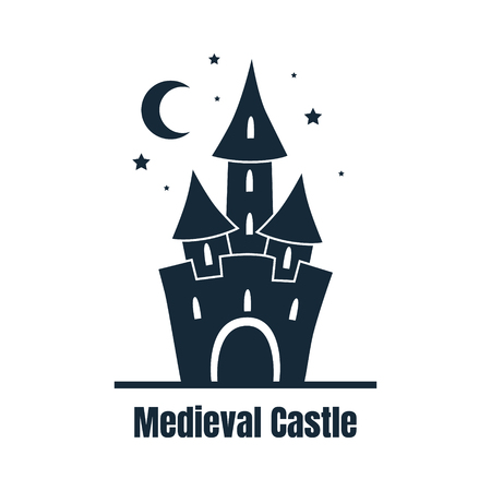 Medieval Castle, Cute Fortress at Night Vector Illustration  イラスト・ベクター素材