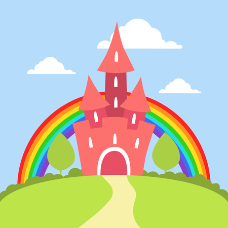Cute Red Fairytale Castle with Rainbow and Summer Landscape Vector Illustration