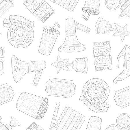 Cinema Seamless Pattern, Movie Production Symbols Hand Drawn Vector Illustration on White Background. Banque d'images - 122831839