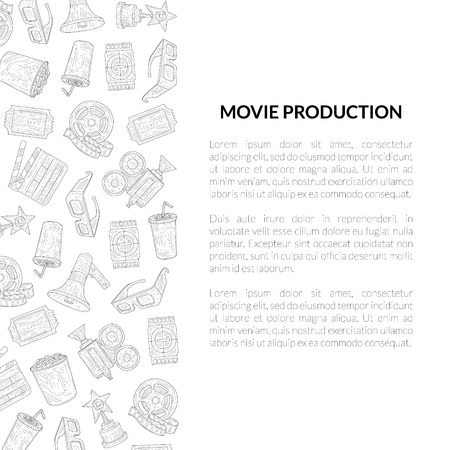 Movie Production Banner Template with Place for Your Text, Cinema Industry Hand Drawn Vector Illustration on White Background. Ilustração