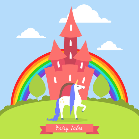 Fairy Tales Banner Template, Cute Magic Castle with Rainbow and Unicorn on Summer Landscape Vector Illustration Stok Fotoğraf - 121734150