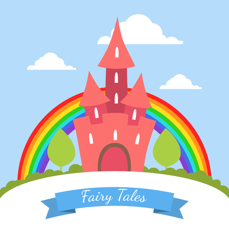 Fairy Tales Banner Template, Cute Red Magic Castle with Rainbow and Summer Landscape Vector Illustration Illustration