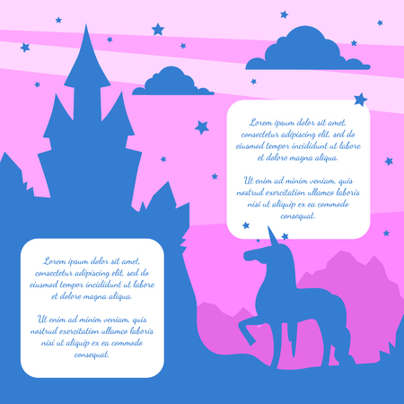 Silhouette of Fairytale Magic Castle and Unicorn on Sunset Background, Banner Template with Place fo Text Vector Illustration Illustration