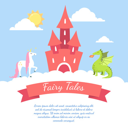 Fairy Tales Banner Template with Place for Text, Cute Magic Castle, Dragon and Unicorn Vector Illustration