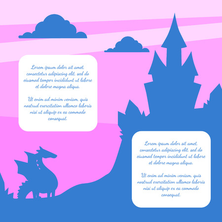 Silhouette of Fairytale Magic Castle on Sunset Background, Banner Template with Place fo Text Cartoon Vector Illustration