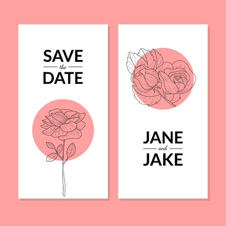 Save The Date, Wedding Invitation Card Template with Rose Flowers Vector Illustration, Web Design