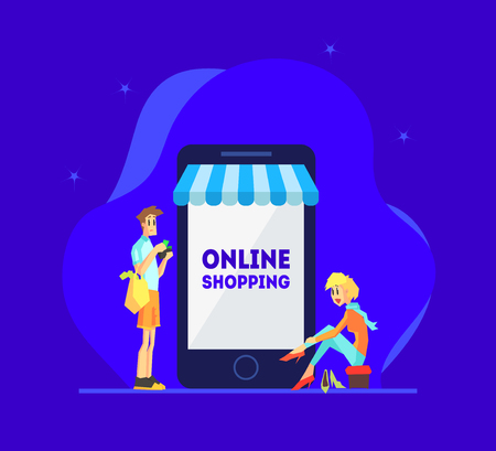 Online Shopping Concept, Man and Woman Standing Near Giant Smartphone, People Using Smartphone for Purchasing at Mobile Store Vector Illustration