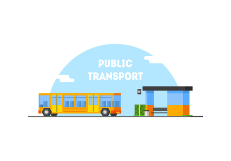 City Public Transport Banner Template, Bus Stop and Moving Bus Vector Illustration in Flat Style.