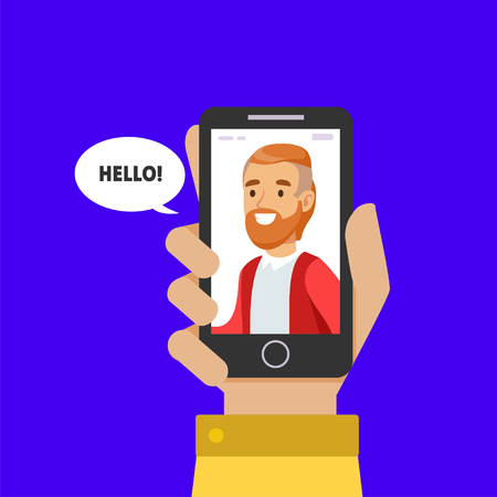 Young Smiling Man on Display of Smartphone, Female Hand Holding Mobile Phone with Boylfriend on Screen, Online Dating, Distance Relationship Vector Illustration on White Background.