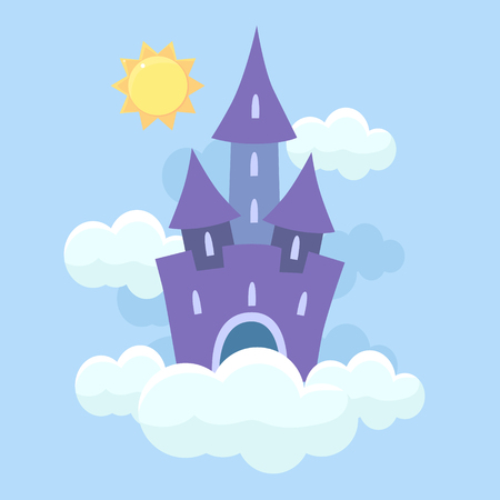 Magic Fantasy Fairytale Castle Flying in Clouds Vector Illustration